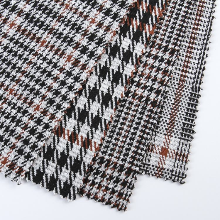 High quality yarn dyed double plaid stretch lurex polyester jacquard fashion fabric