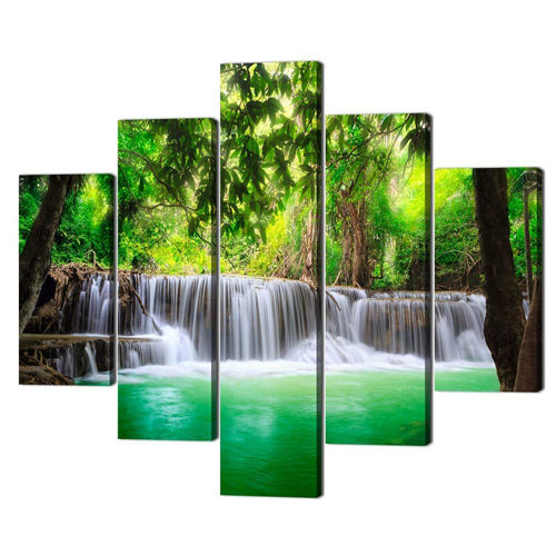Canvas Decoration Living Room Landscape Home Waterfall 5 Panel Art Custom Oil Print On Poster Printing Wall Painting