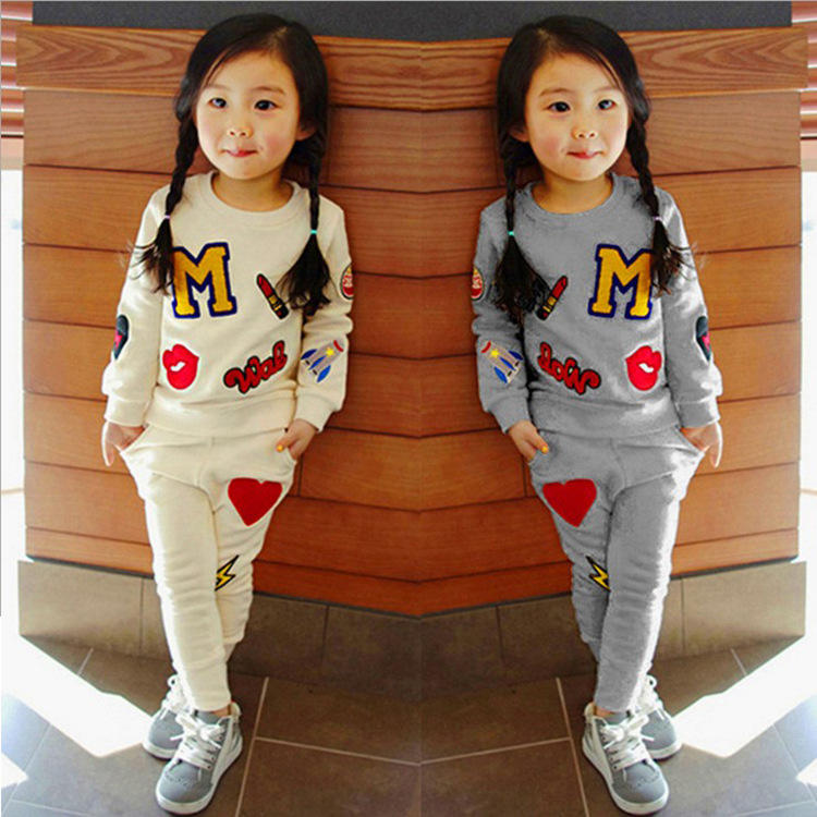 2020 New Autumn Kids Girl Printed Letter Daily Home Outfit Gray Beige Korean Style Children Clothing Set for 3-7T