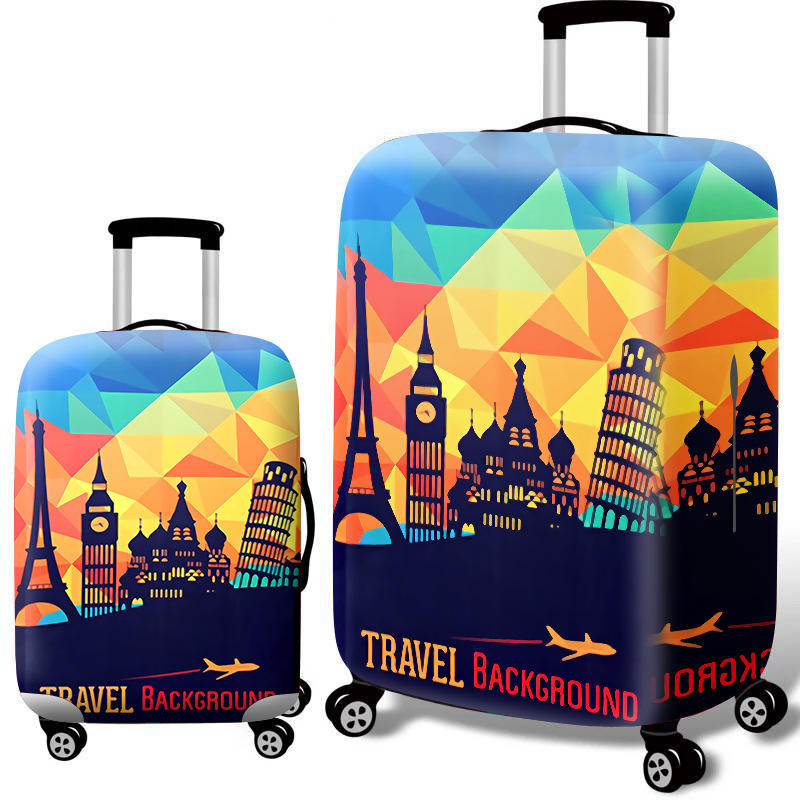 SAUANN OEM Polyester Material High Quality Sublimation Printing Plastic Zipper Suitcase Covers Elastic 3D Printed Luggage Cover