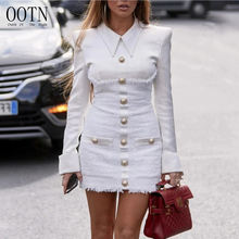 OOTN Elegant Ladies Autumn Blazer Mini Dress Streetwear Patchwork Single Breasted Office Dress Plus size Bodycon Dress