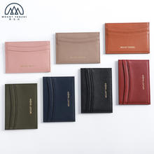 Custom Logo Slim Full Grain Leather RFID Arc-shaped Card holder