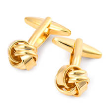 Wholesale High Quality Groom Wedding Dress Men's shirt Gold And Silver Twist Knot Cufflinks