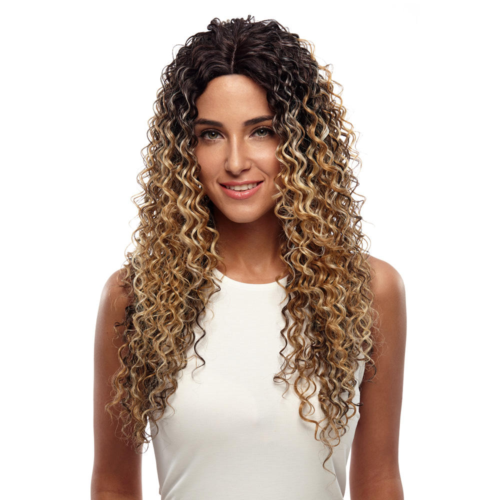 "Noble Lace Front Synthetic Wigs For Women Middle Part Long 26"" Soft Ombre Blonde Wig With Dark Roots Wavy Heat Resistant Fiber"