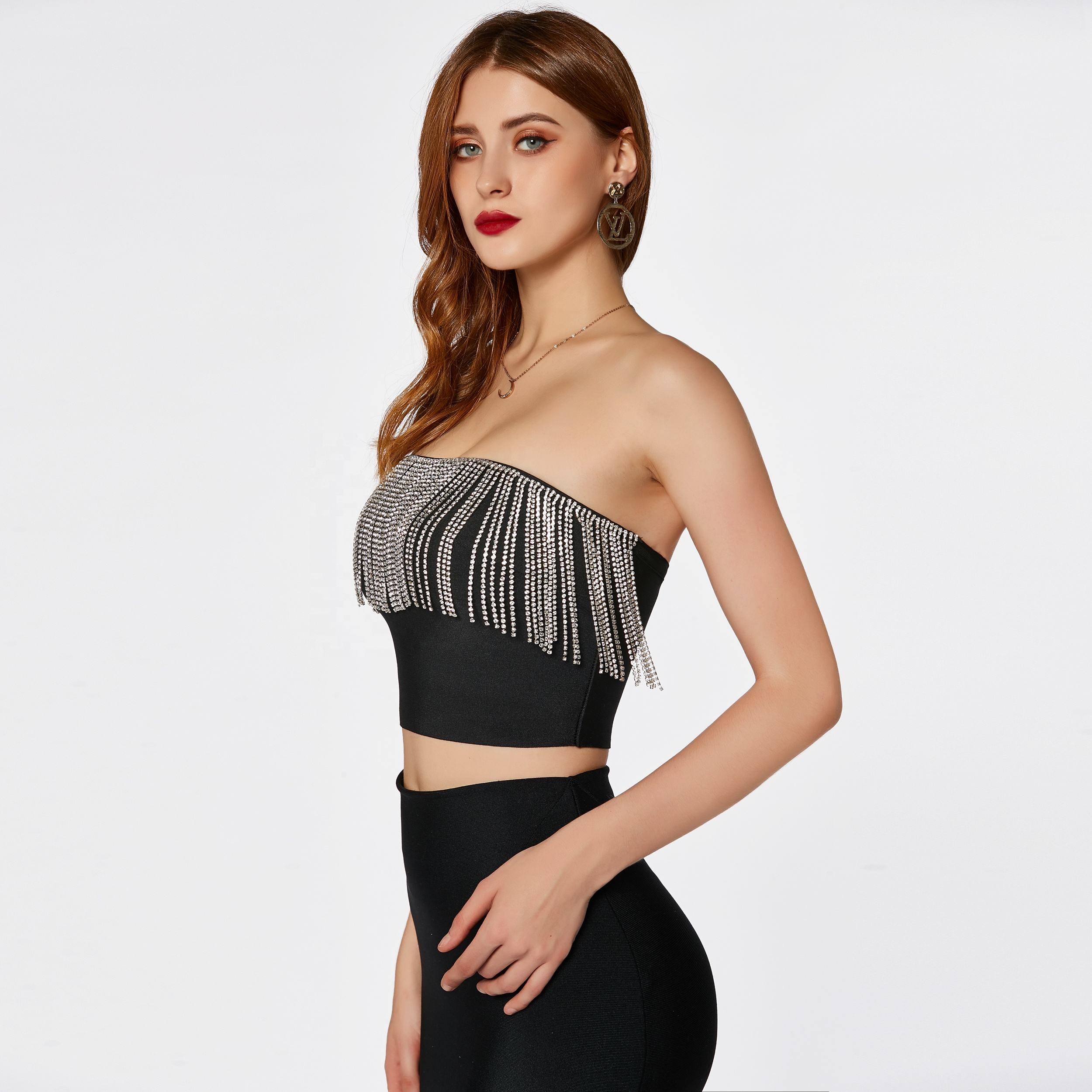 Factory custom women fashion black 2 piece set tassel high waist sexy bodycon mini bandage dress skirt and top for party club