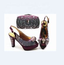 AB5828 African wedding shoes and matching bag women high heels italian shoes and bag set