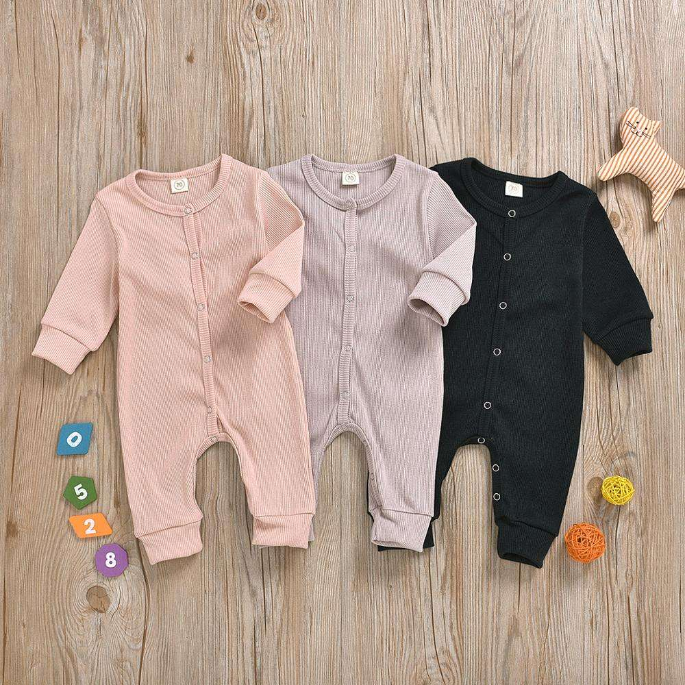 new born baby bodysuit clothes blank ribbed cotton onsie OEM plain baby bodysuit
