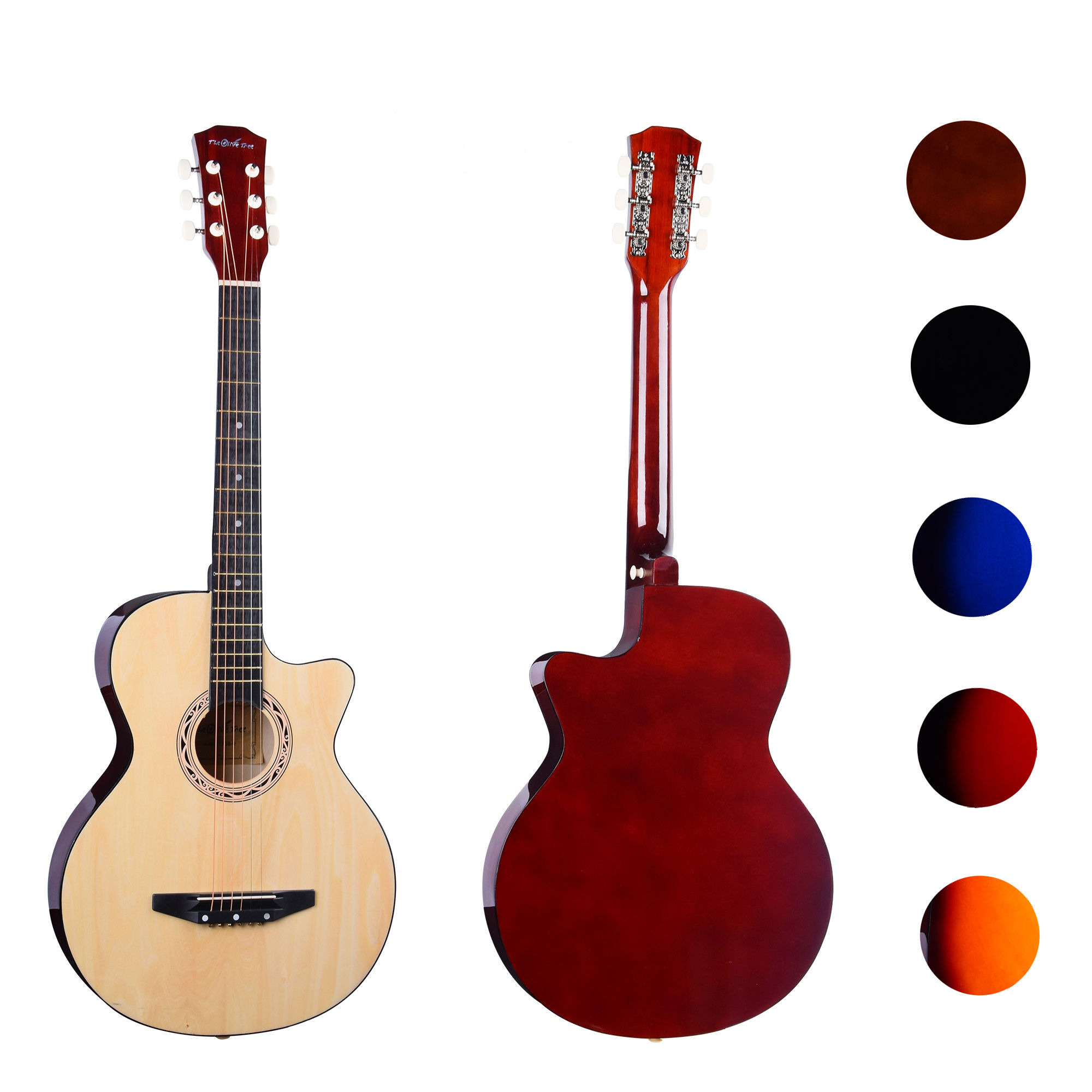 "38 "" cheap colorful linden cheapest 38 inch student beginner acoustic guitar"