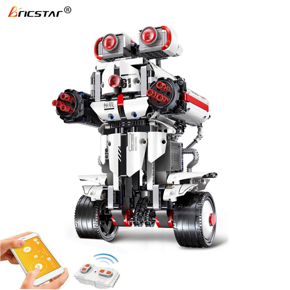Bricstar plastic blocks for kids 2.4G remote control robot mobile app kids assembly blocks toy