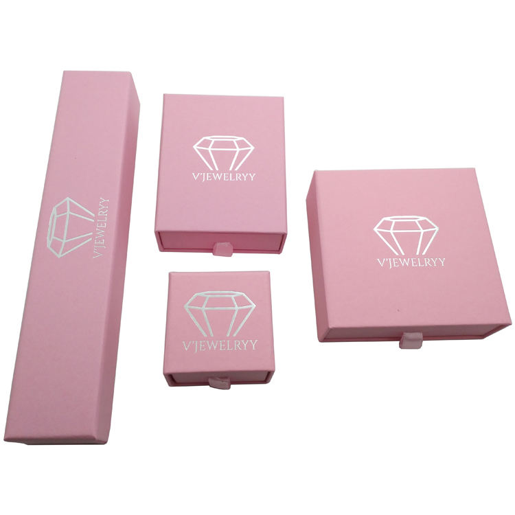 Custom logo printed storage luxury pink paper box ring pendant necklace bracelet set jewelry box drawer gift packaging box