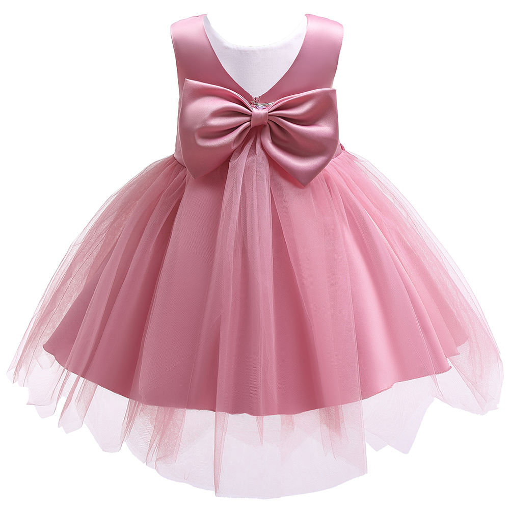 Custom High Quality Royal Tulle Satin Belt Girls Birthday Party Wear Pink Dress Ball Gown For Kids