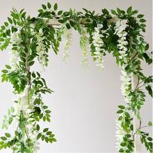 IFG 6 feet white artificial wisteria vine for wedding flower arch decoration