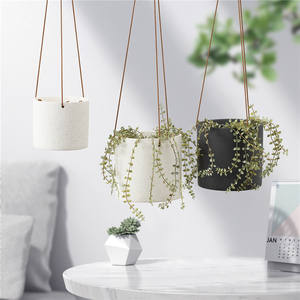 indoor outdoor decorative cylinder floating plant pot hanging ceramic planter for garden decoration