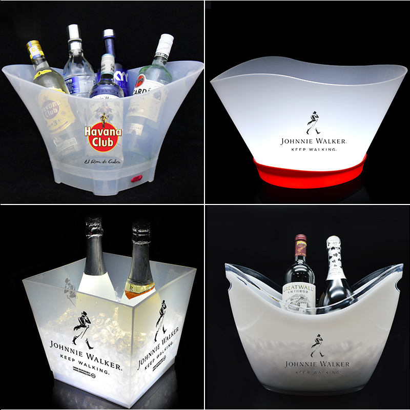 custom logo print wholesale acrylic beer plastic wine ice bucket tongs with led light