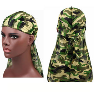 2019 Wholesale high quality camonuflage fabric du rag bandana with customized logo satin with camouflage durag