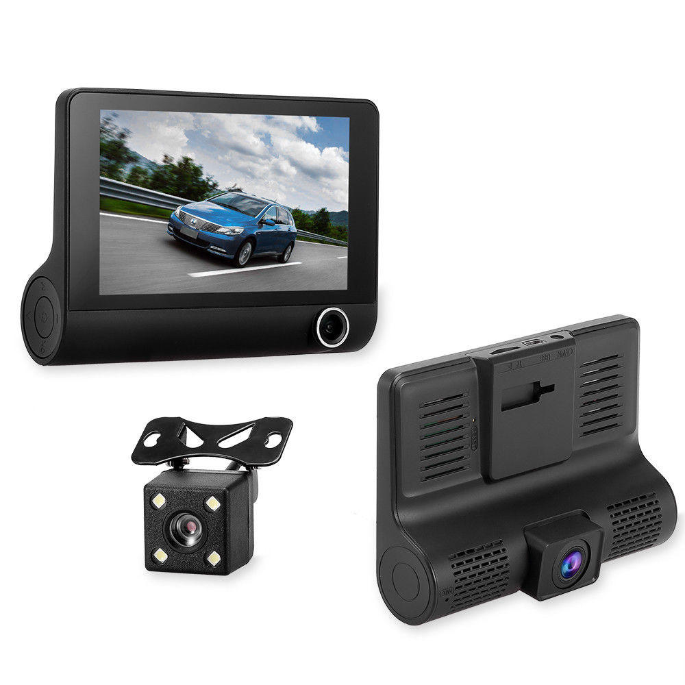 1080p car dash cam with rear camera vehicle blackbox dvr drive recorder 3 triple lens camera 4 inch auto dashcam car black box