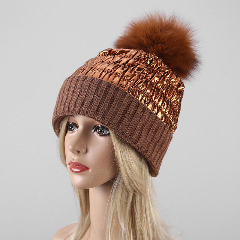 Factory Wholesale winter hat knit beanie fox fur pom pom hats for women