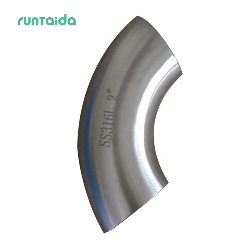 Pipe Fitting Butt Weld Stainless Steel 316L Sanitary Bevel End Long Radius 90 Degree Elbow