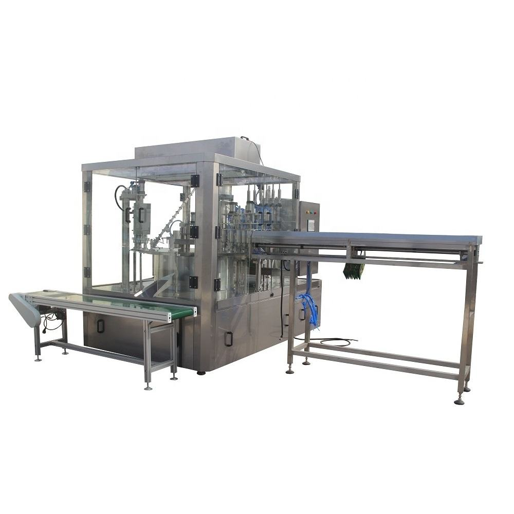 Rotary automatic spout pouch filling and capping machine for packing bag liquid mineral water fruit juice yogurt olive oil
