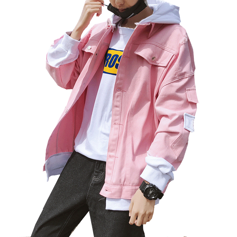 2019 New Arrivals Two Piece Ripped Design Men's Pink Spring Hood Jacket