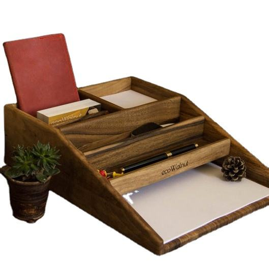 Wood Stationery Set Holder For Paper Pencil Glasses Pen Office Decor Desk Accessories Document Holder