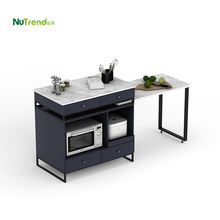 Folding metal frame black stone top kitchen furniture Small Classic kitchen island table