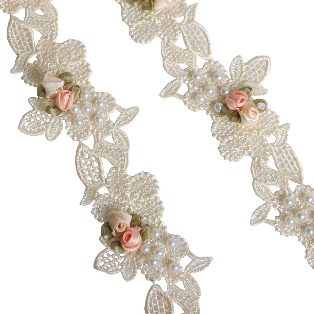 050025231 Fabric DIY Sewing Garment Dress Hat Wedding Decoration Apricot 3D Flower Pearl Embroidered Lace Trim Ribbon
