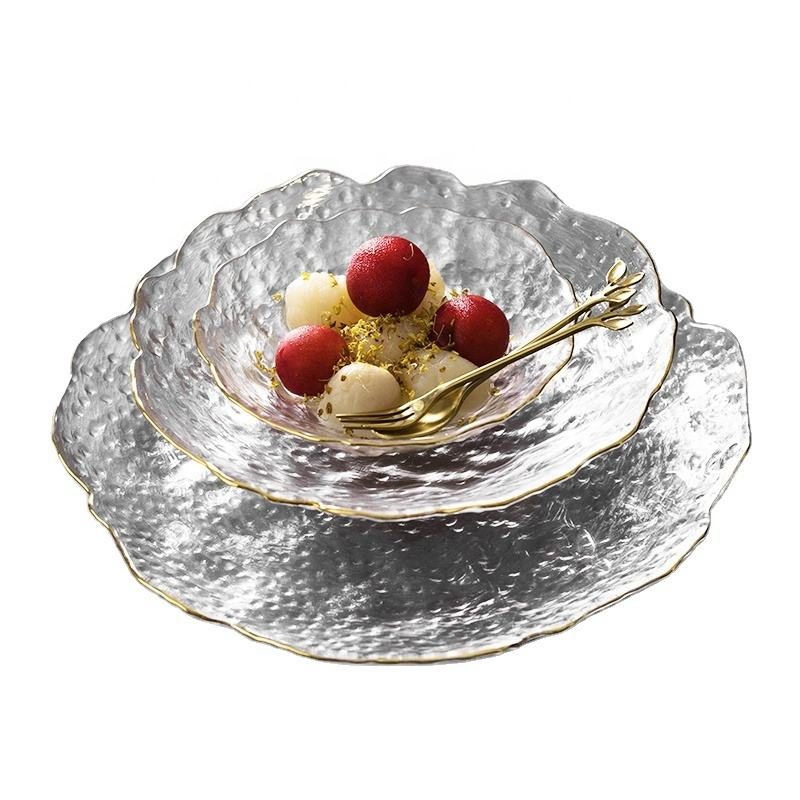 unique shape of Phnom Penh glass dinner plate transparent dessert bowl western dinner plate creative salad tray fruit plate