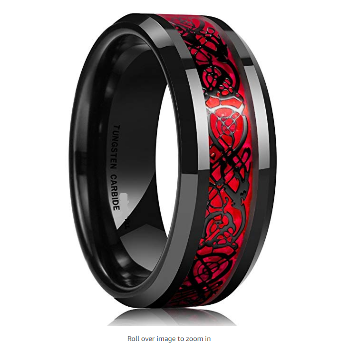 China Factory Directly Wholesales Red Opal Black Dragon Inlay TUNGSTEN RINGS
