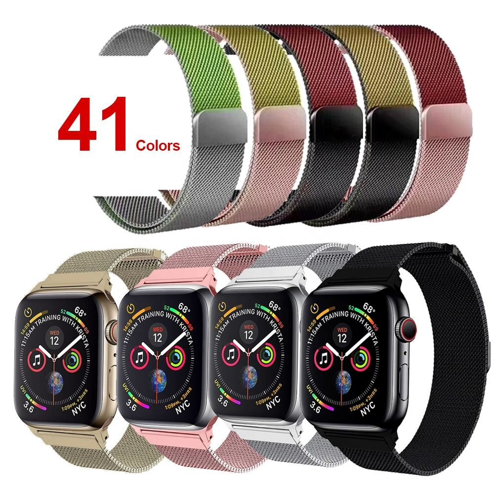 ShanHai Band Replacement For Apple Watch Band Series 5/4/3, Milanese Loop Stainless Steel Bracelet Strap with Unique Magnet Lock