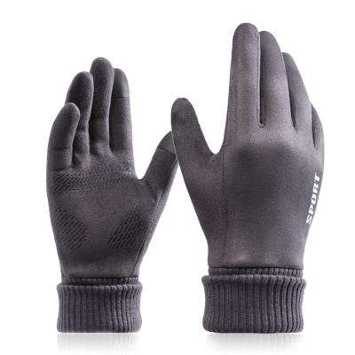 Suede Leather Winter Warm Touch Screen Sport Gloves For Men