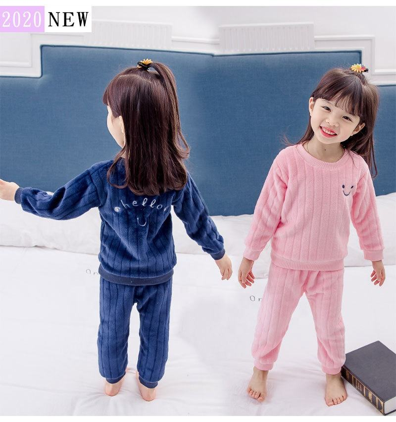 2020 winter warm thick kids pajama flannel underwear children clothes set