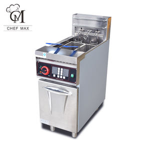 Commercial 9000W Custom Vertical Single cylinder 2 Basket Timer Electric Deep Fryer with Cabinet