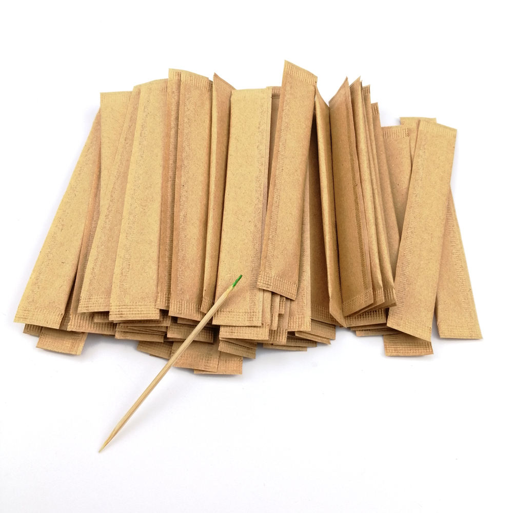 Natural Individually Paper Wrapped Flavored Colored Mint Bamboo Toothpick