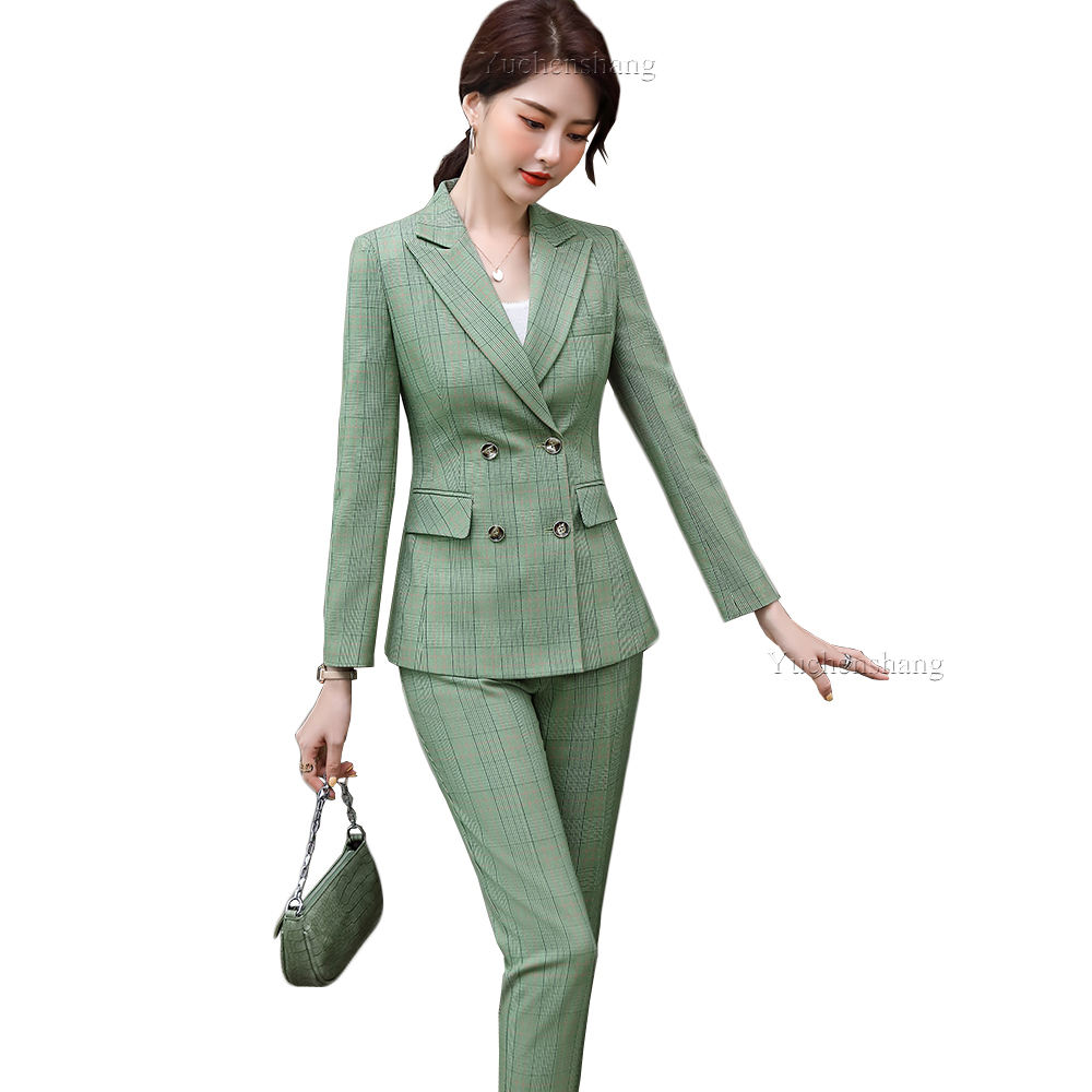 OL Office Wear 2 Piece Set Green Brown Plaid Women Plus Size 5XL Jacket Tuxedo Ladies Double Breasted Plaid Blazer Pant Suit