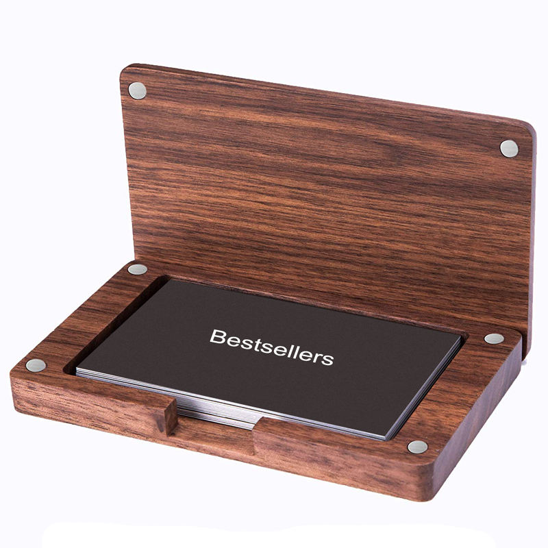 Business Card Case Wood Business Card Holder Wooden Name Card Holder with Magnetic Cover