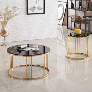 2020 New Arrival Modern Metal Base Marble Top Coffee Table Living Room Furniture Marble Round Coffee Table