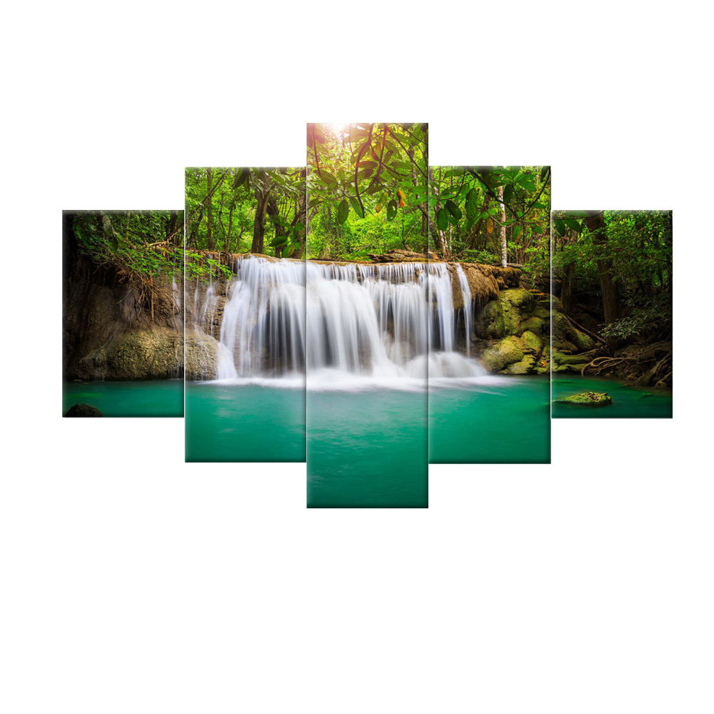 High Definition Stretched 5 panel Natural Forest Waterfall Photo Art Wall Digital Canvas Print