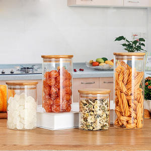 Round Cylinder Heat Resistant Apothecary Storage Dry Rice Vacuum Borosilicate Glass Storage Jar With bamboo Wood Lid