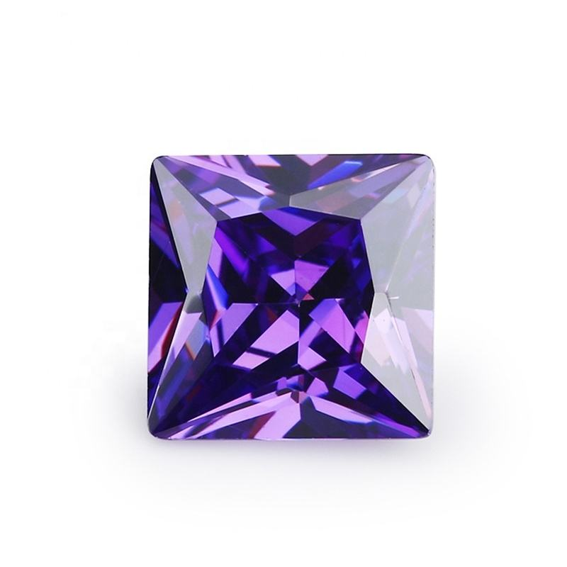 factory wholesale machine diamond cut princess square violet color lab cubic zircon CZ loose gemstone jewelry gems