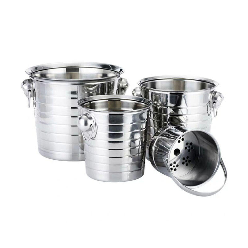 Hot selling metal champagne ice wine buckets stainless steel beer keg cooler outdoor champagne ice bucket with handle for bar