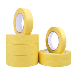 Easy Removal Automotive Painting Crepe Paper 120 Degree Yellow Masking Tape