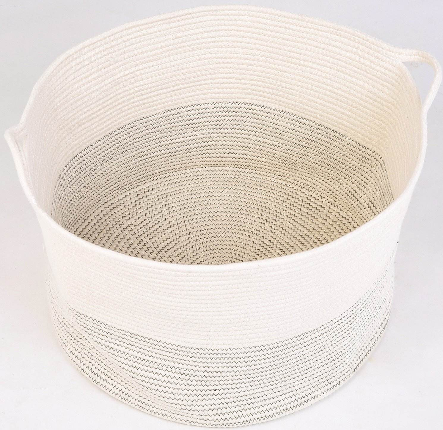 Round Cotton Rope Basket Baby Laundry Woven Basket with Handle for Throw Toy