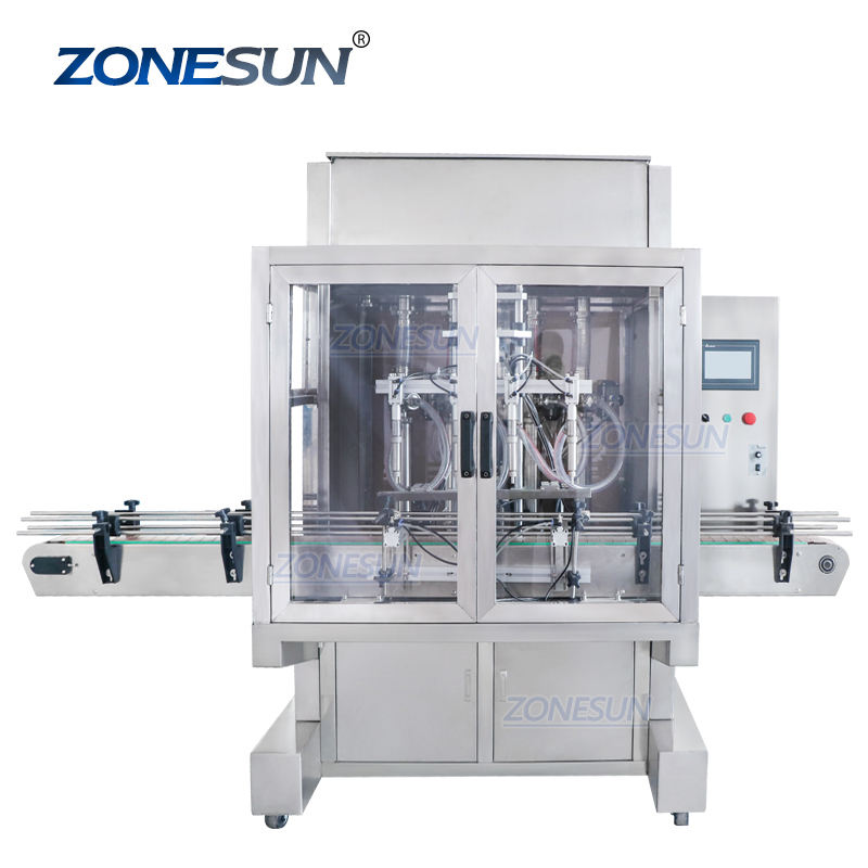 ZONESUN 50-500ML Motor Sauce Ghee Glass Cleaner Piston Honey Garlic Paste Automatic Quantitative Bottles Servo Filling Machine