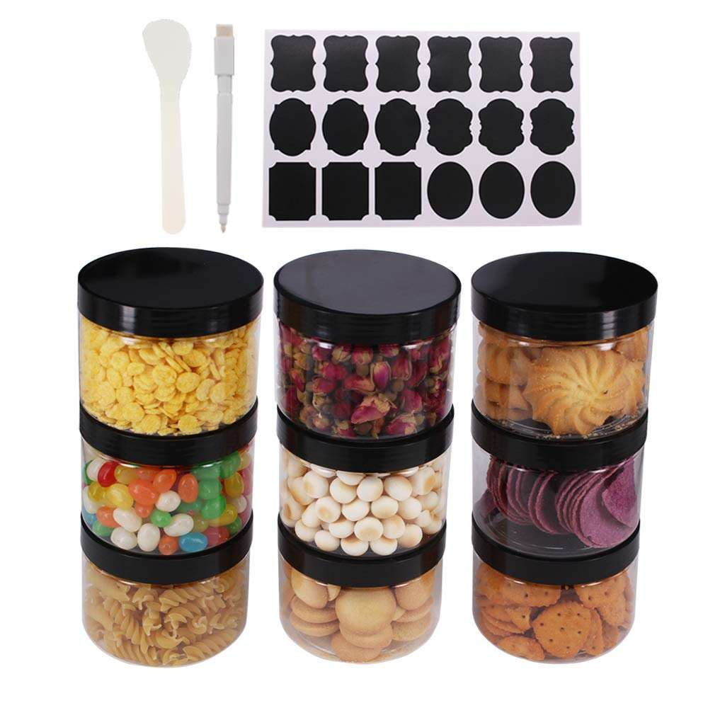 6 /12pcs verpackung BPA FREE 8 unzen 16 unzen PET Jar Plastic Wide Mouth Refillable Food Storage container mit White Black & Aluminium Lid