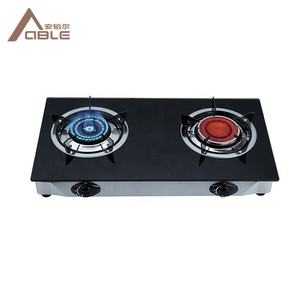 ABLE Double Burner Glass Top Gas Stove Infrared Gas Cooker