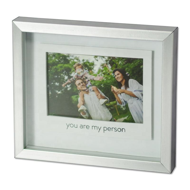 Wholesale Silver Photo Frame Custom Logo Cardboard Display Case Shadow Box for Table Display Stand