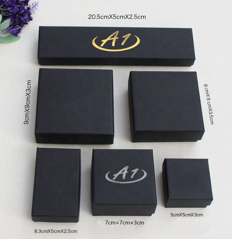 Low price black small present craft gift ring necklace bracelet cufflink paper jewelry box for packaging