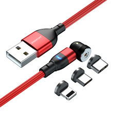 Phone cable 540 degree 90 degree magnetic charging cable 3 in 1 usb cable 3.3ft 6.6ft Magnetic Cable for ios/micro/type c