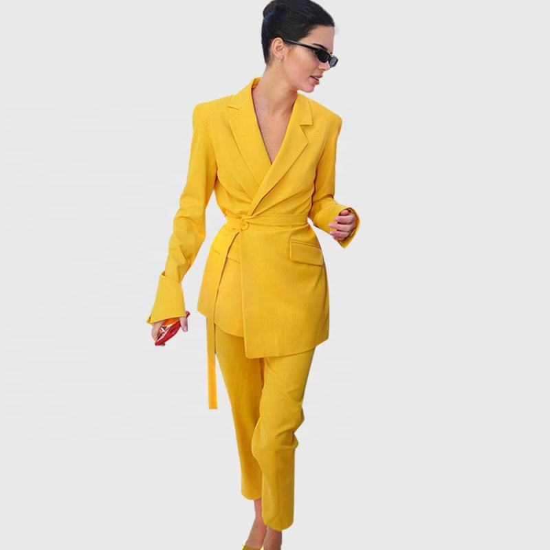 Fashion Women Office Suit Blazer Yellow Elegant Ladies Celebrity Evening Runway Party Pants Suits